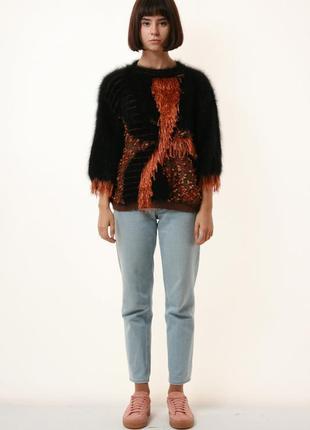 Винтажный свитер 80-х годов в сумашедший узор и махеровыми вставками 1079