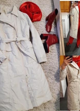 Шикарное стильное пальто ,плащь стеганное молочного цвета, icon, p.44