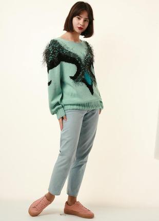 Винтажный шерстяной свитер 90х годов многоцветный узор из мохера 1205