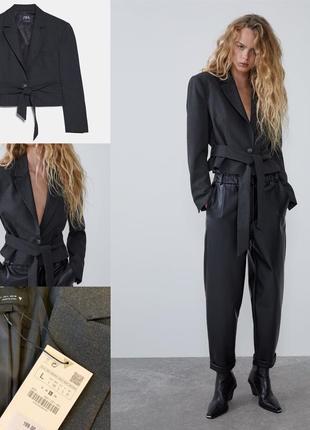 Укороченный стильный пиджак зара