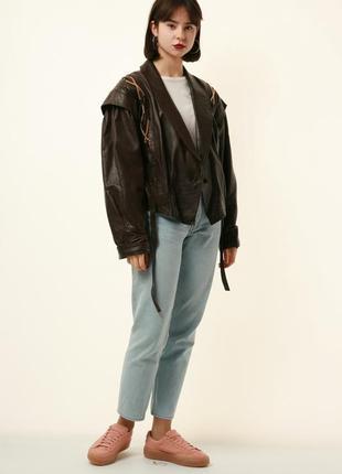 Кожаная куртка-бомбер 80-х годов vera pelle 1222