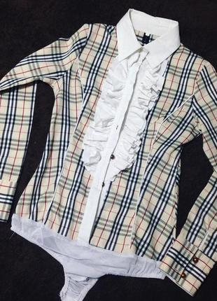 Нарядная блузка-боди в стиле burberry