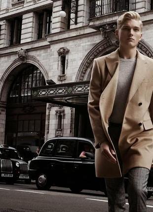 Стильное бежевое пальто премиум бренда reiss kanye мужское шерстяное пальто бежевого цвета