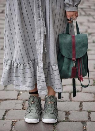 Кожа. ручная работа. кожаный зеленый рюкзак, рюкзачок