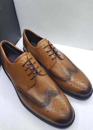 Мужские кожаные туфли броги от датского бренда ecco 46 47