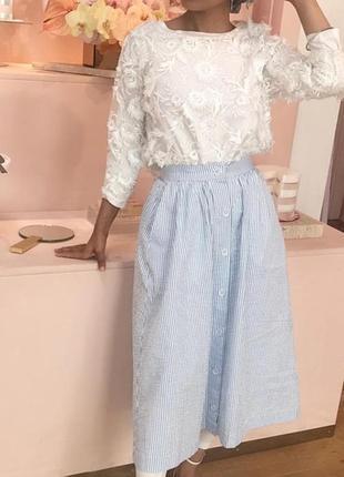 Фирменная коттоновая юбка миди h&m, размер 10/40