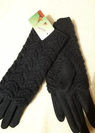Мягкие замшевые перчатки на меховушке с ажурной шерстяной накладкой