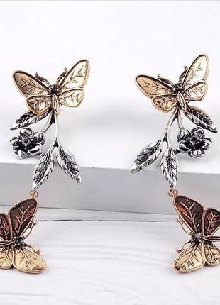 Оригинальные серьги трансформеры бабочки