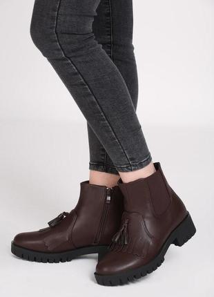 Новые шикарные женские демисезонные коричневые ботинки