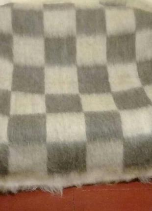 """Ліжник, плед, одеяло з овечоі шерсті 185/220 см """" шахматка"""""""