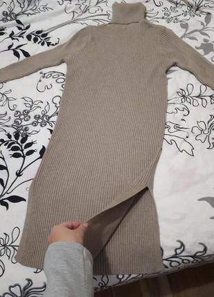Платье теплое в рубчик цвета капучино