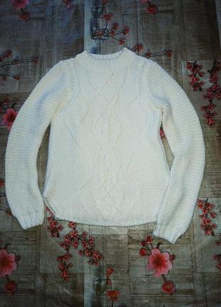 Белый свитер узор косы красивый світер свитерок