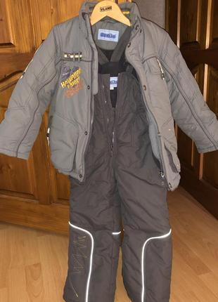 Детский зимний комбинезон с отстёгивающемся капюшоном