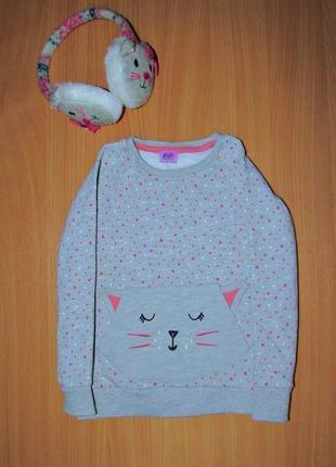 Комплект на девочку свитер свитшот котик и теплые наушники котики