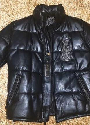Крутой кожаный пуховик, куртка от christian audigier