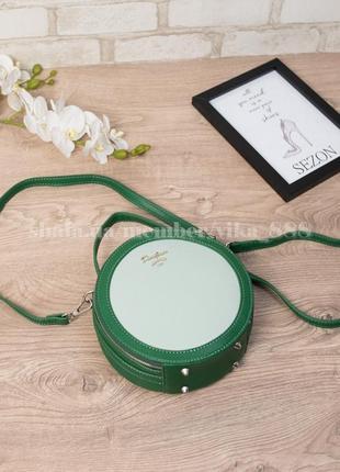 Круглая женская сумка через плечо david jones 5059 зелёный/бледно-зелёный