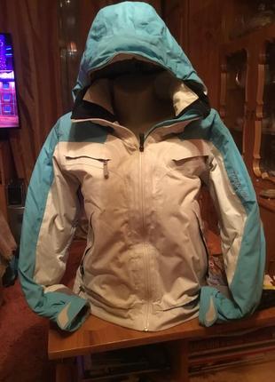 Лыжная куртка columbia белая с голубым