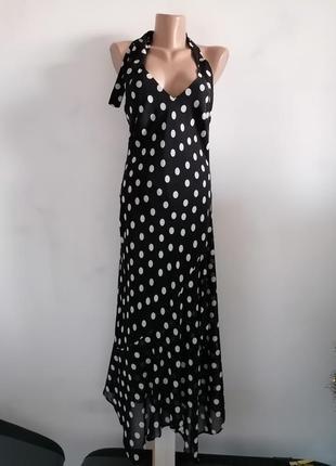 💖чёрное платье в горошек с открытой спинкой в стиле carolina herrera💖 платье миди