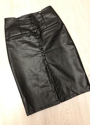 Супер юбка-карандаш кожаная