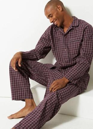 Фланелевая тёплая пижама байковая, в клеточку домашний костюм