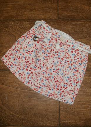Джинсовая юбка на 2-3 года с цветочным рисунком