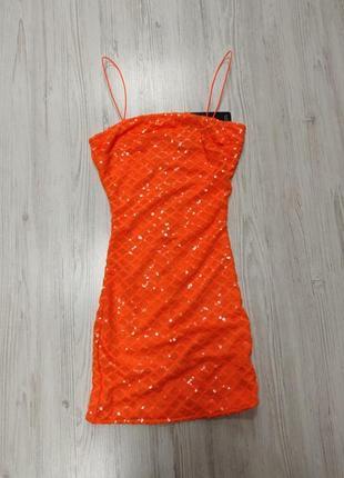Ликвидация товара 🔥 оранжевое мини платье в пайетки