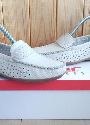 Стильные кожаные удобные мокасины rieker antistress летние туфли оригинал в коробке