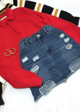 Шикарная джинсовая юбка с рваностями