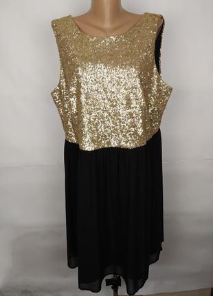 Платье новое шифоновое шикарное в паетках большого размера new look uk 22/50/4xl