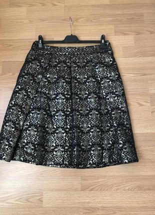 Пышная золотистая юбка миди бренда tu в стиле дольче габбана р-р xl/48-50 наш