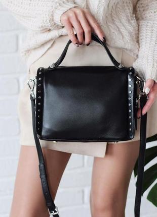 Женская кожаная сумка polina & eiterou чёрная красная жіноча шкіряна