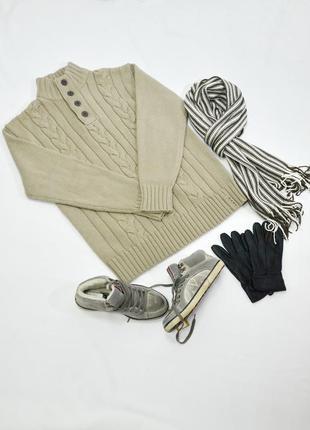 Мужской шерстяной бежевый свитер angelo litrico