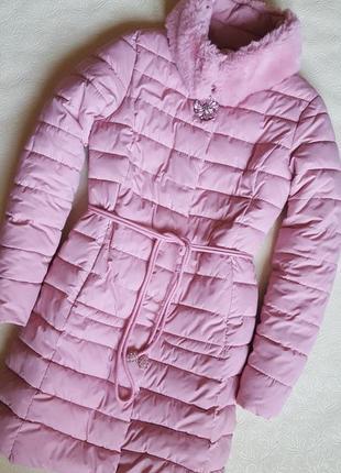 Стёганое пальто куртка с меховым воротником зима/весна