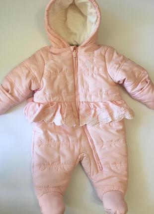 Очень теплый розовый зимний комбинезон на девочку 6-9 мес., calvin klein, оригинал