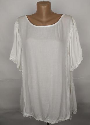 Блуза белая шикарная с кружевом большой размер capsule uk 24/52/5xl