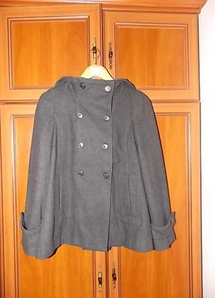 Пальто шерсть zara с капюшоном3