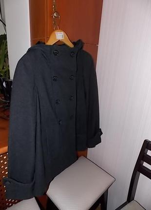 Пальто шерсть zara с капюшоном2