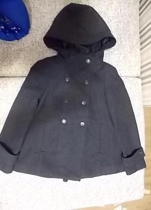 Пальто шерсть zara с капюшоном