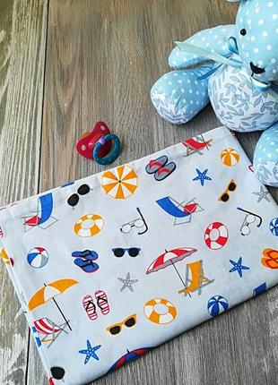 Наволочка летние зонтики на сером фоне с запахом, на детскую подушку  60*40 см