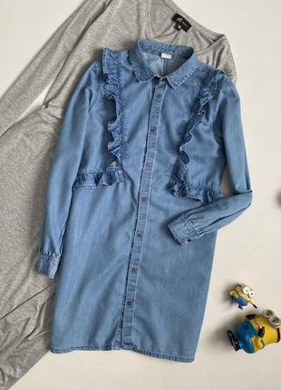 Красивейшее джинсовое платье рубашка с оборками 11 лет next