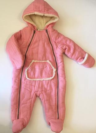 Розовый демисезонный комбинезон на девочку 6-9 мес. first impressions, оригинал