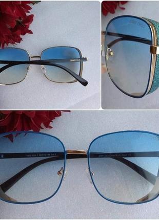 Новые модные очки с блестящей боковой защитой, голубые