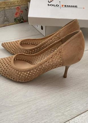 Нубуковые туфли на каблуке solo femme, рыжие туфли из нубука шпильке