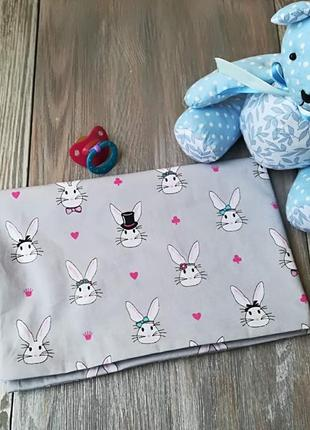 Наволочка зайцы на сером фоне с запахом, на детскую подушку  60*40 см