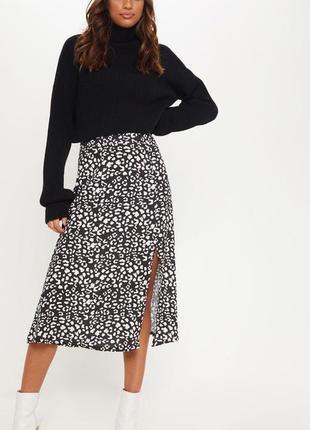 Ликвидация товара 🔥 черно белая миди юбка с леопардовым принтом