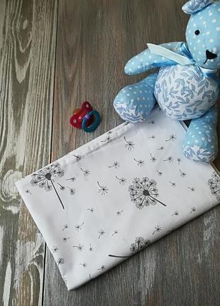 Наволочка одуванчики на белом фоне с запахом, на детскую подушку  60*40 см,100% хлопок
