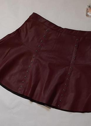 Юбка брендовая кожаная юбка экокожа