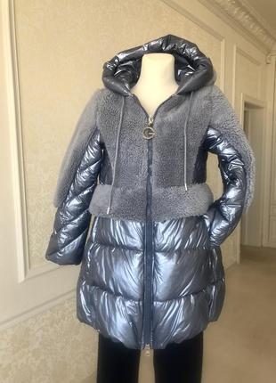 Пальто, куртка блестящая синяя голубая мех s m