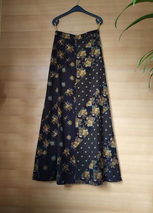 Длинная вельветовая юбка высокая талия цветочный принт