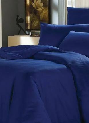 Шелковое постельное белье двуспальное синие